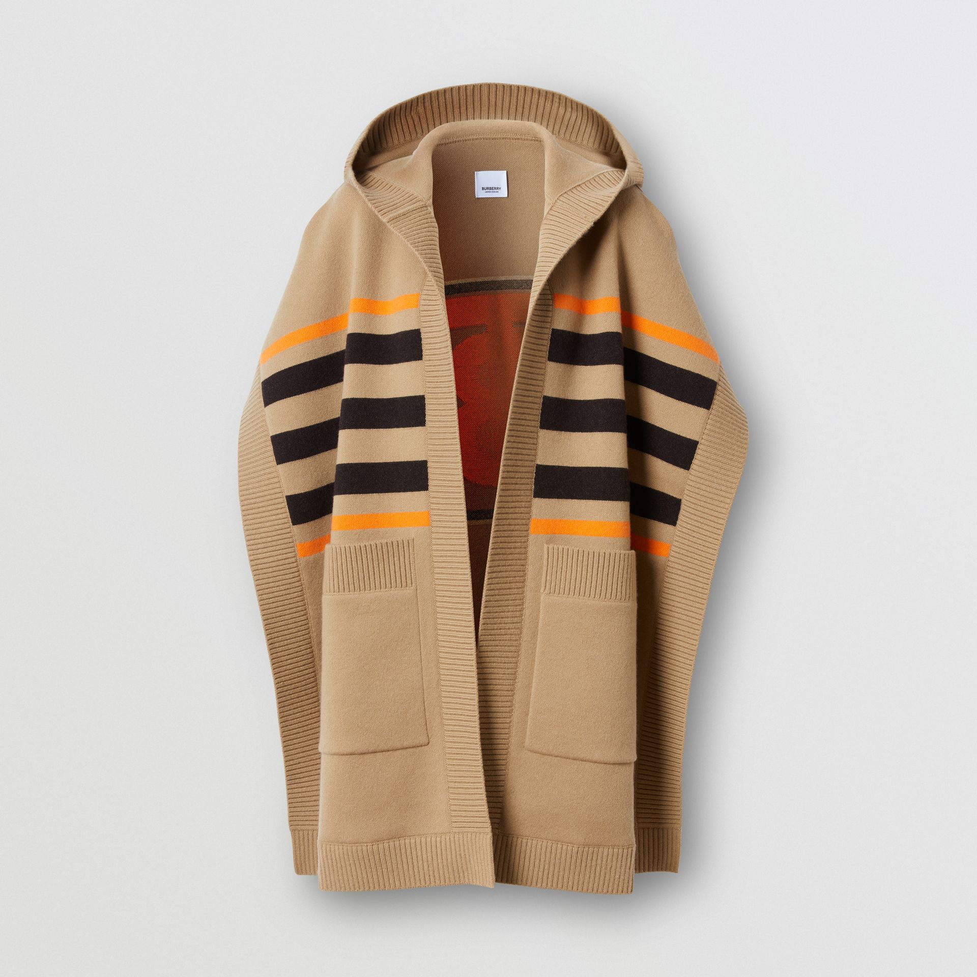 Monogram Motif Intarsia Wool Cashmere Blend Cape in Archive Beige - Women | Burberry - gallery image 3