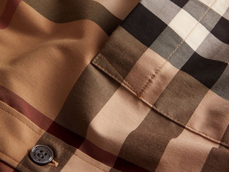 Camel Check Stretch Cotton Shirt Camel - cell image 1