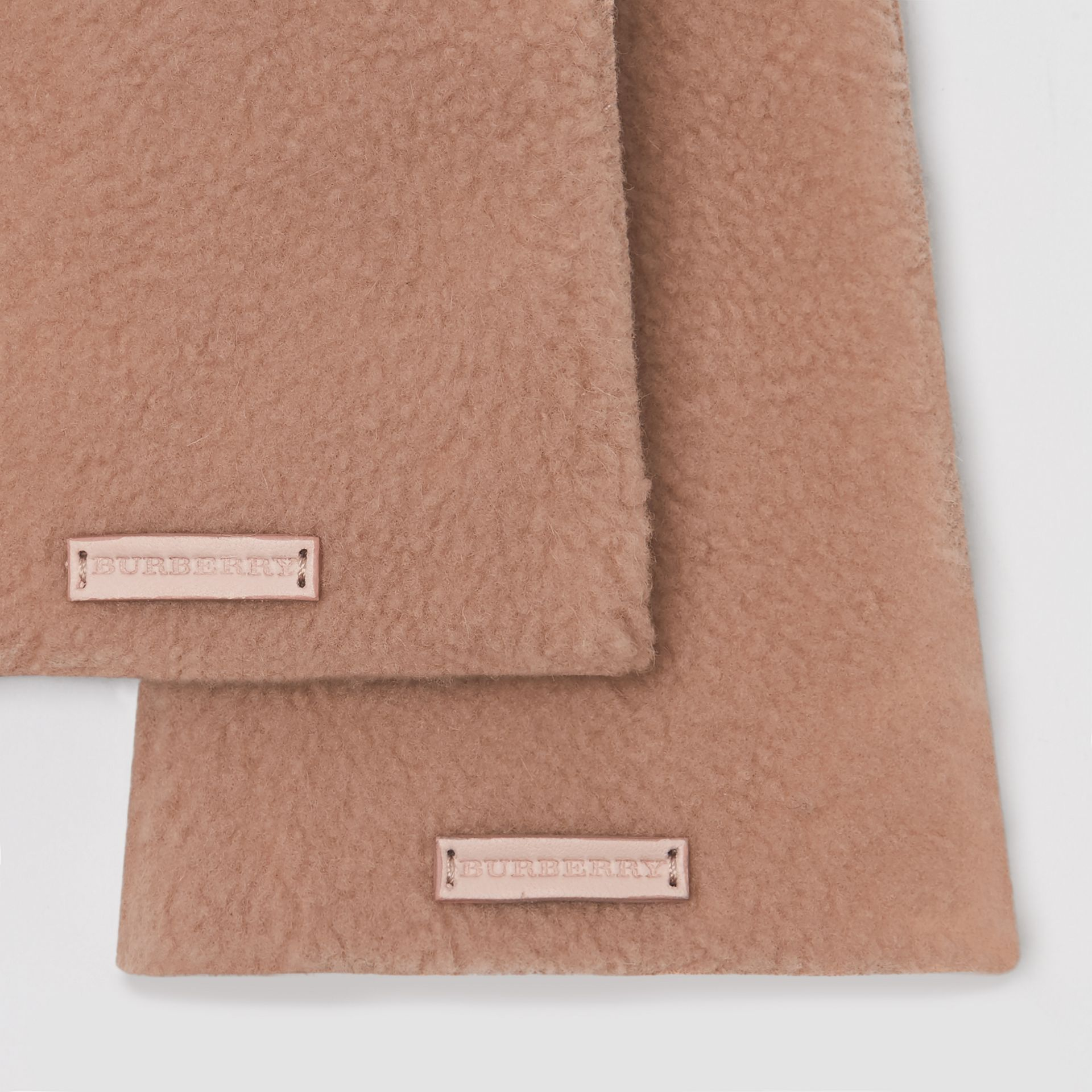 Shearling and Leather Gloves in Dusty Pink | Burberry - gallery image 1