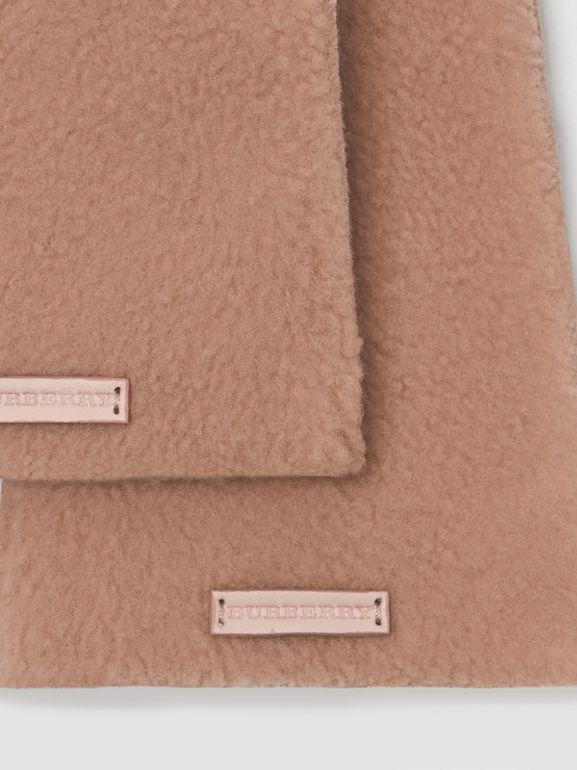 Shearling and Leather Gloves in Dusty Pink | Burberry - cell image 1