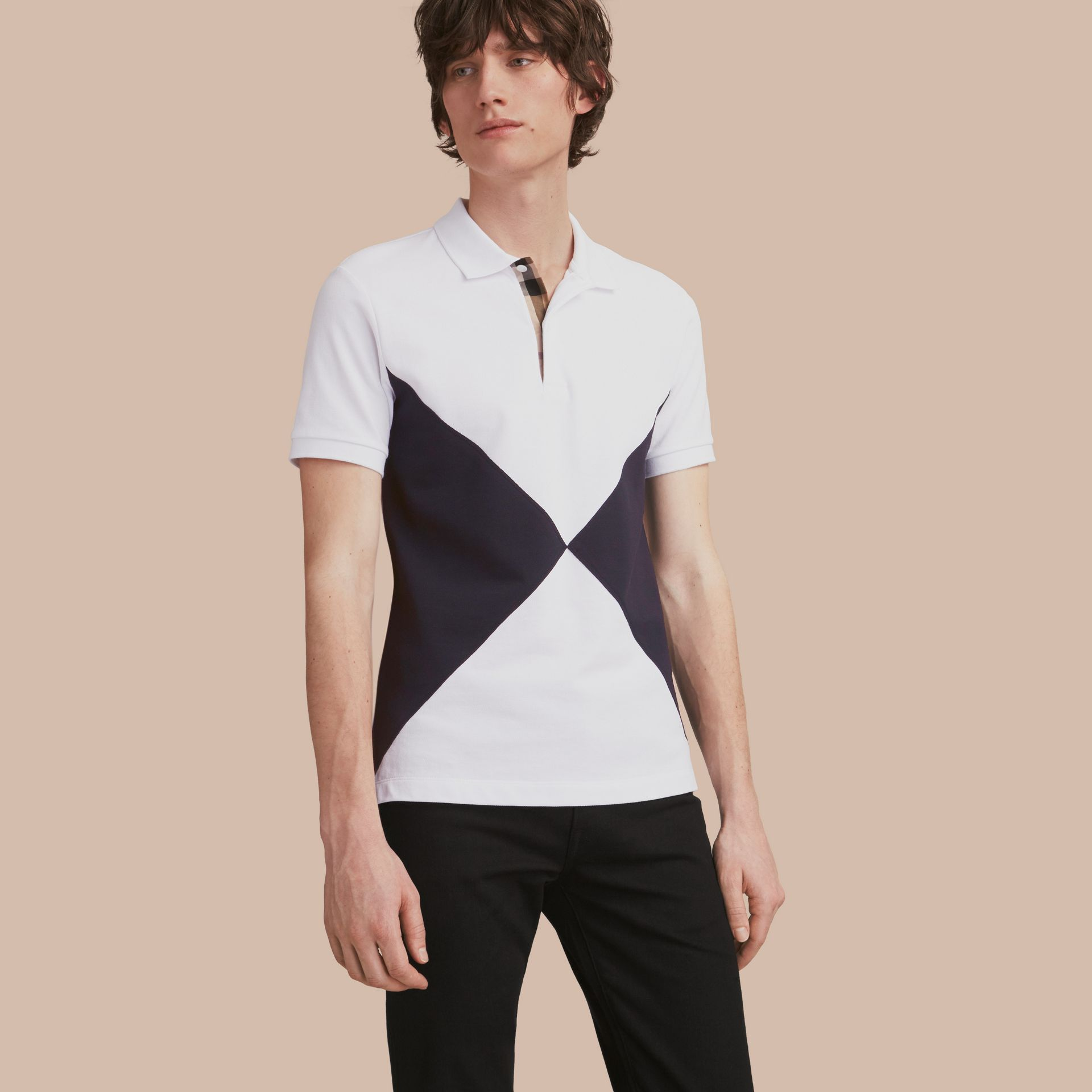 Geometric Motif Cotton Piqué Polo Shirt with Check Placket White - gallery image 1