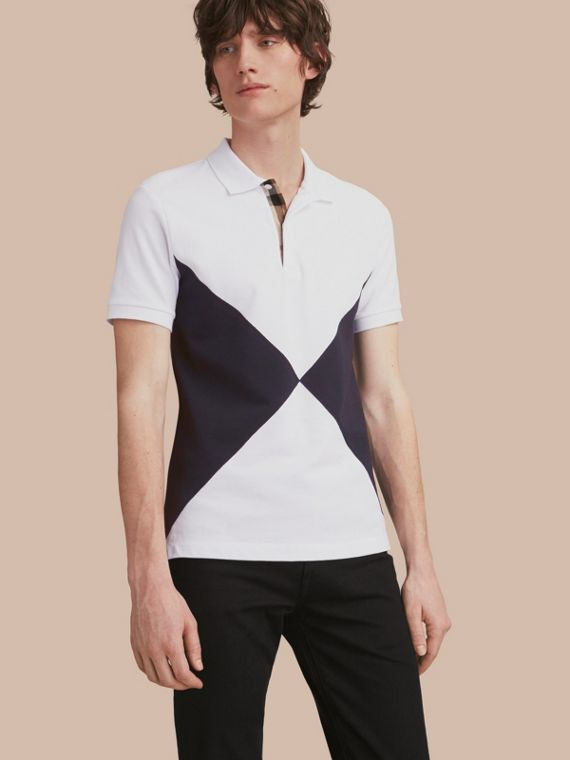 Geometric Motif Cotton Piqué Polo Shirt with Check Placket White