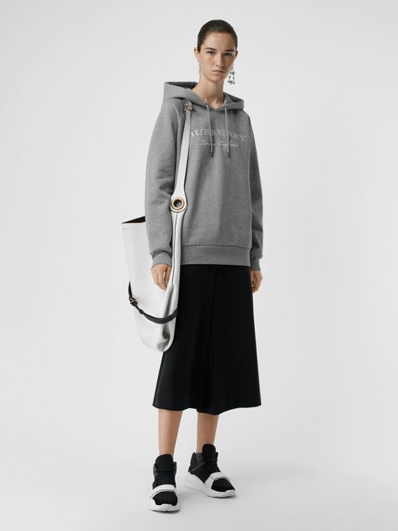 Embroidered Hooded Sweatshirt in Pale Grey Melange