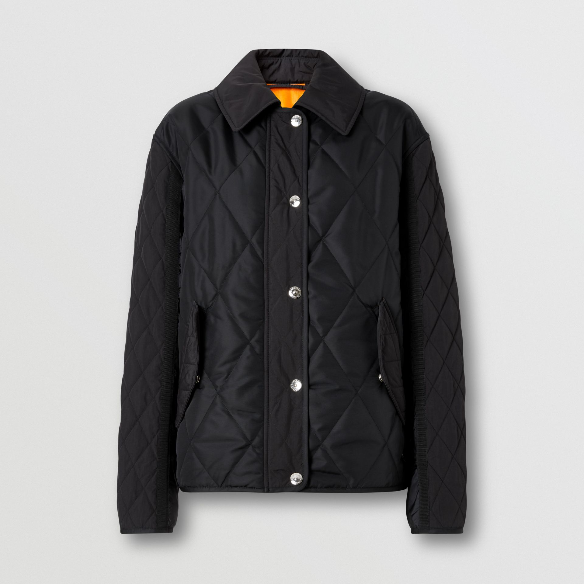 Logo Print Diamond Quilted Jacket in Black | Burberry United Kingdom - gallery image 3