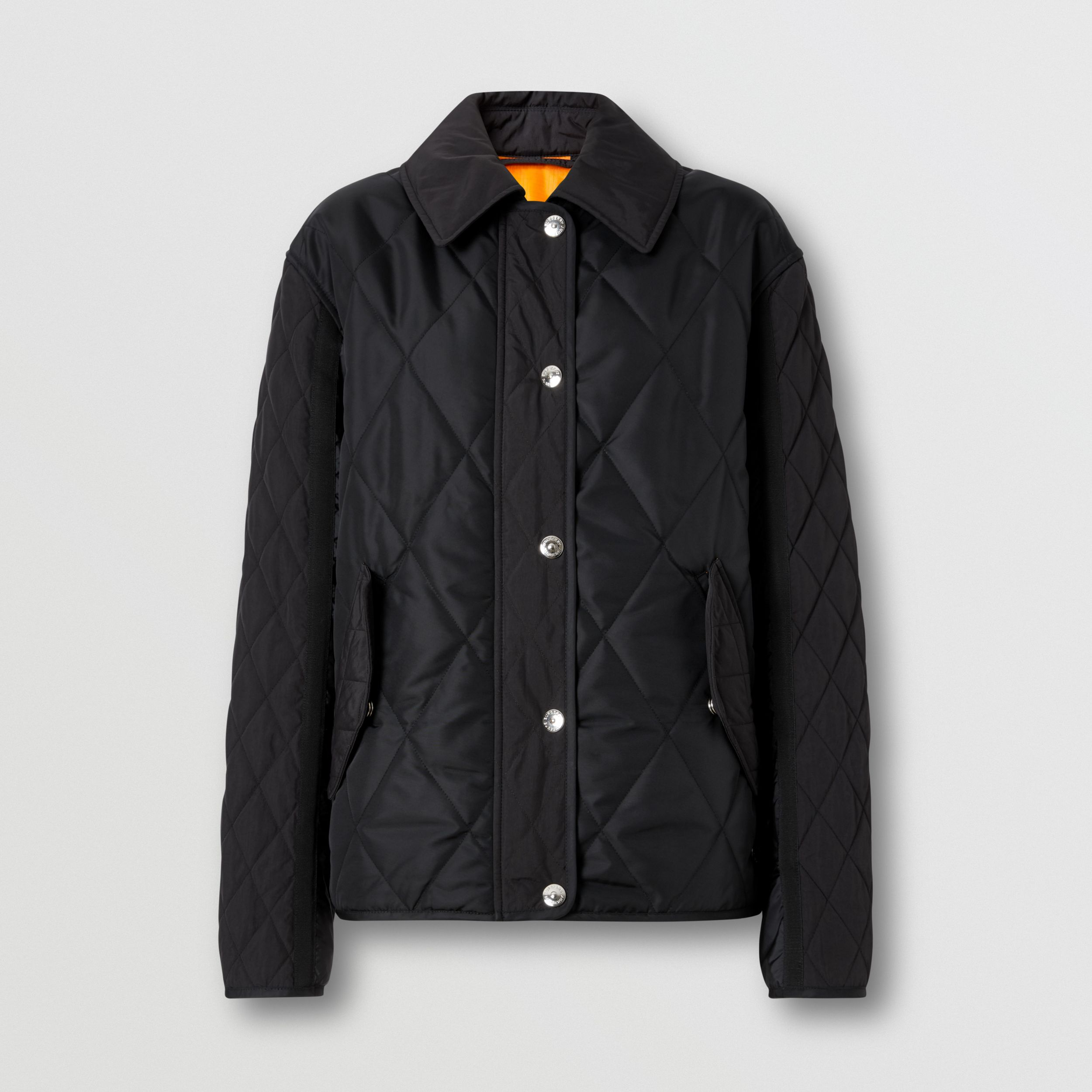 Logo Print Diamond Quilted Jacket in Black - Women | Burberry - 4