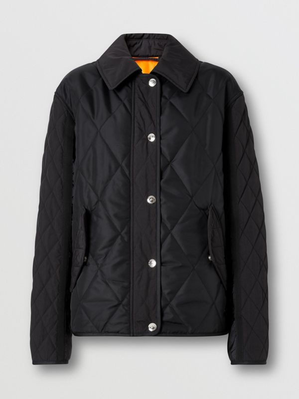 Logo Print Diamond Quilted Jacket in Black | Burberry United Kingdom - cell image 3