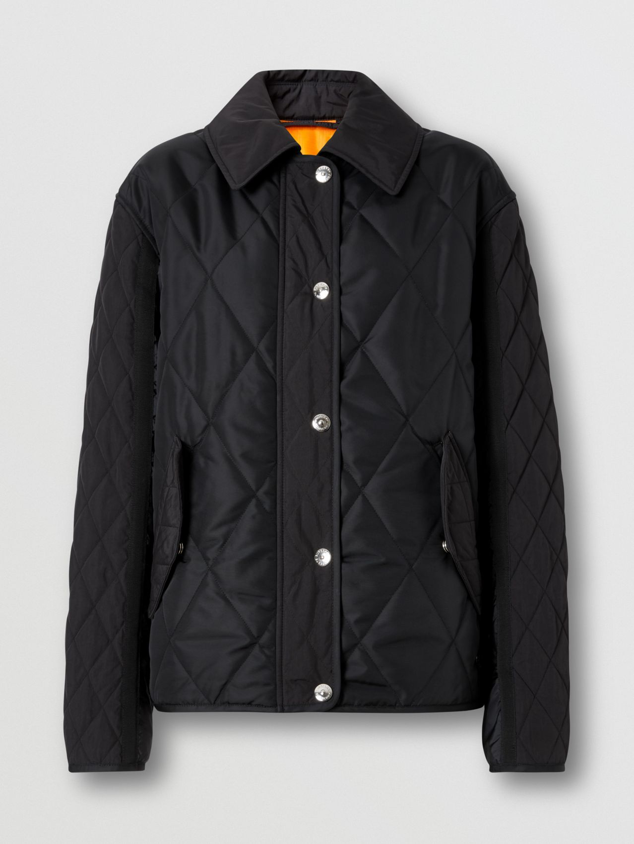 Logo Print Diamond Quilted Jacket in Black