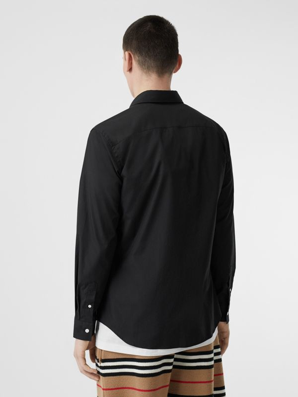Monogram Motif Stretch Cotton Poplin Shirt in Black - Men | Burberry United States - cell image 2