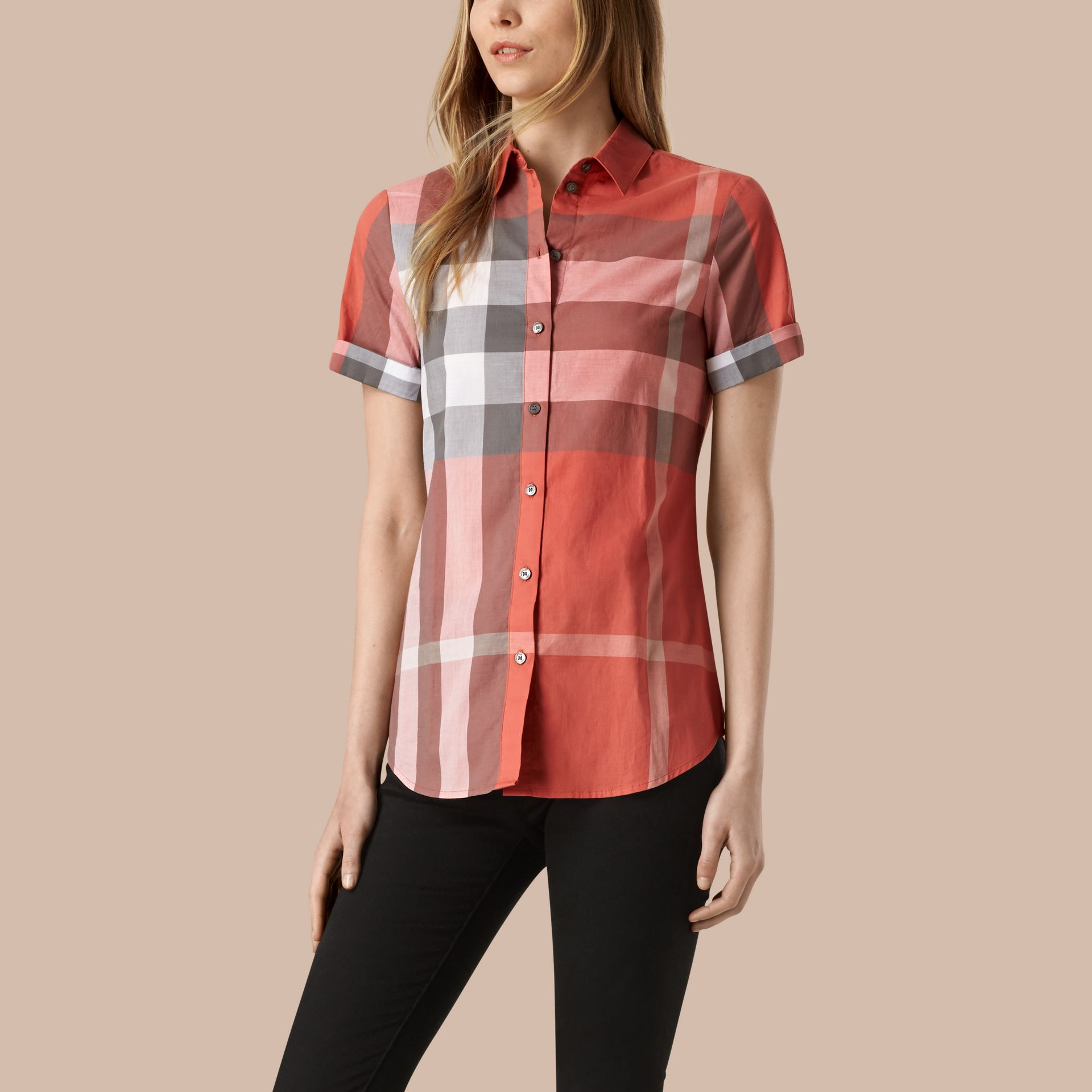 Copper pink Short-sleeved Check Cotton Shirt Copper Pink - gallery image 1