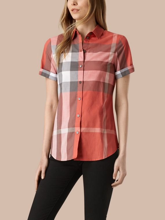 Short-sleeved Check Cotton Shirt Copper Pink