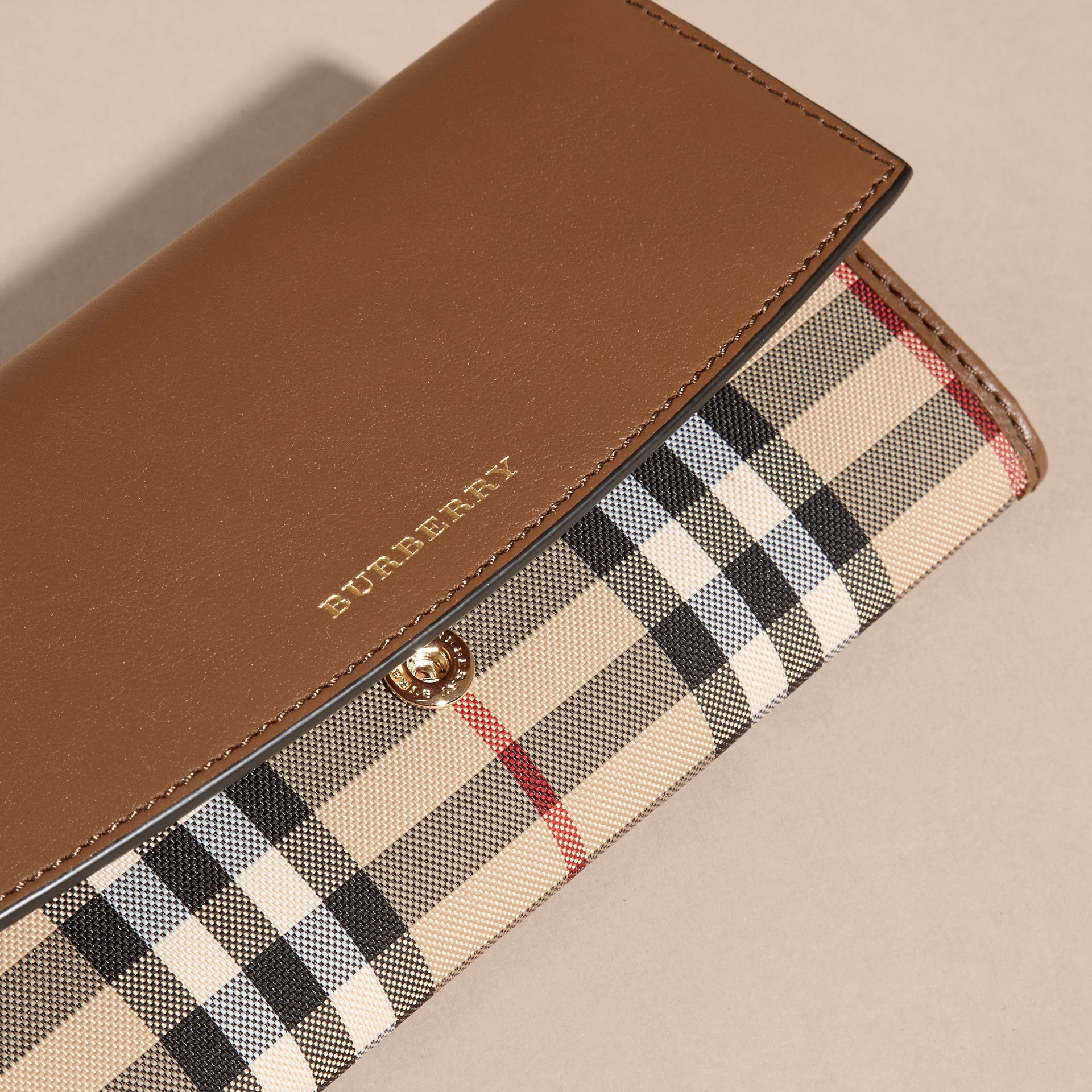 Tan Horseferry Check and Leather Continental Wallet Tan - gallery image 2
