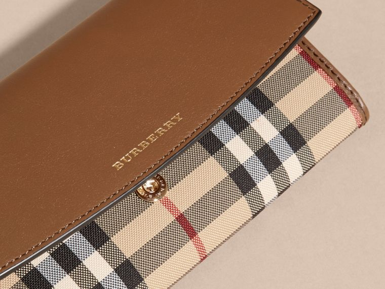 Tan Horseferry Check and Leather Continental Wallet Tan - cell image 1
