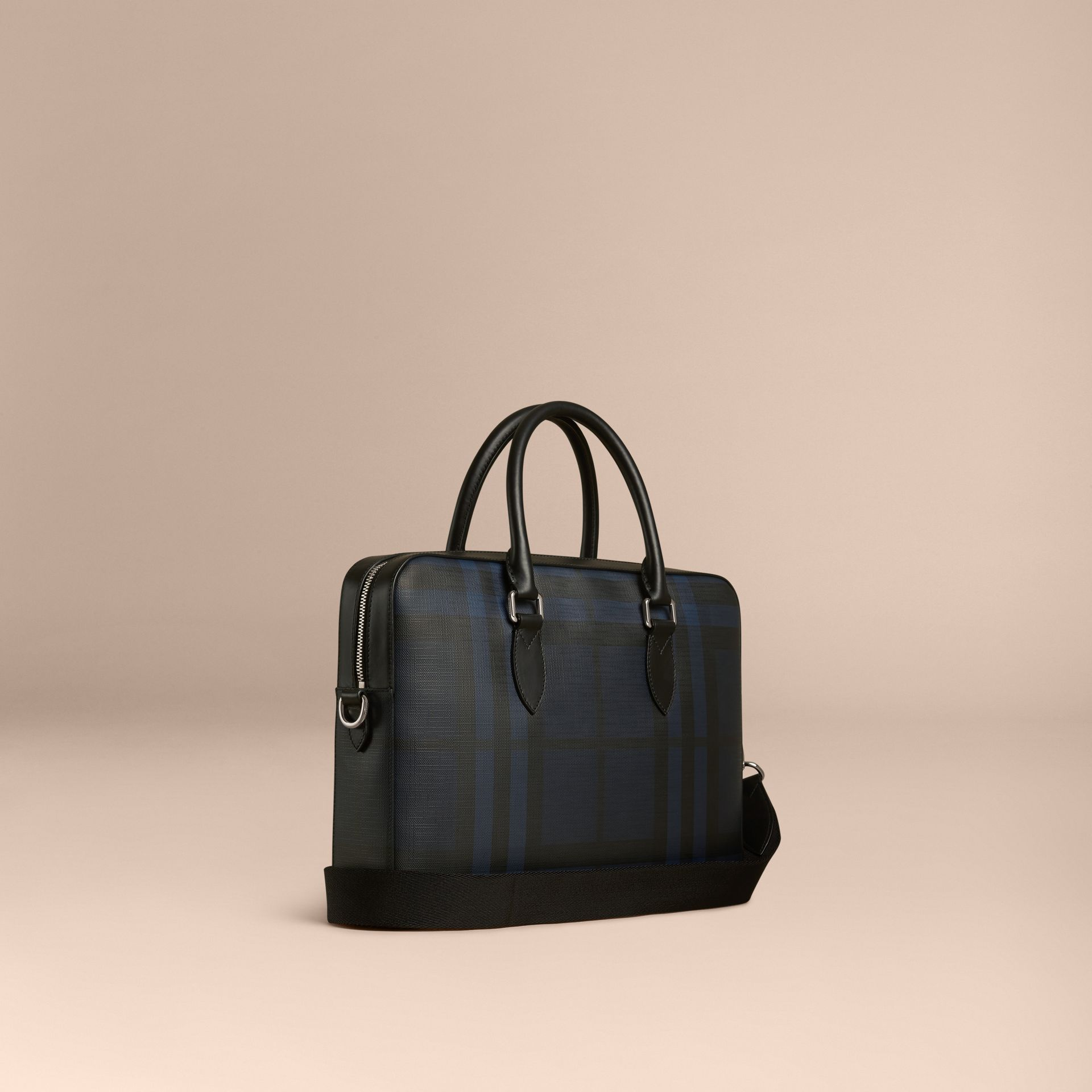 Medium Leather Trim London Check Briefcase in Navy/black - gallery image 1