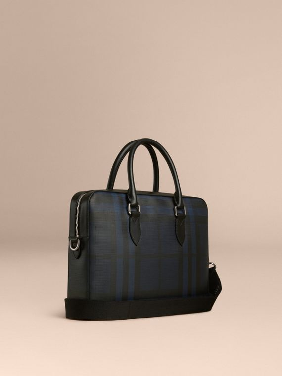 Medium Leather Trim London Check Briefcase Navy/black