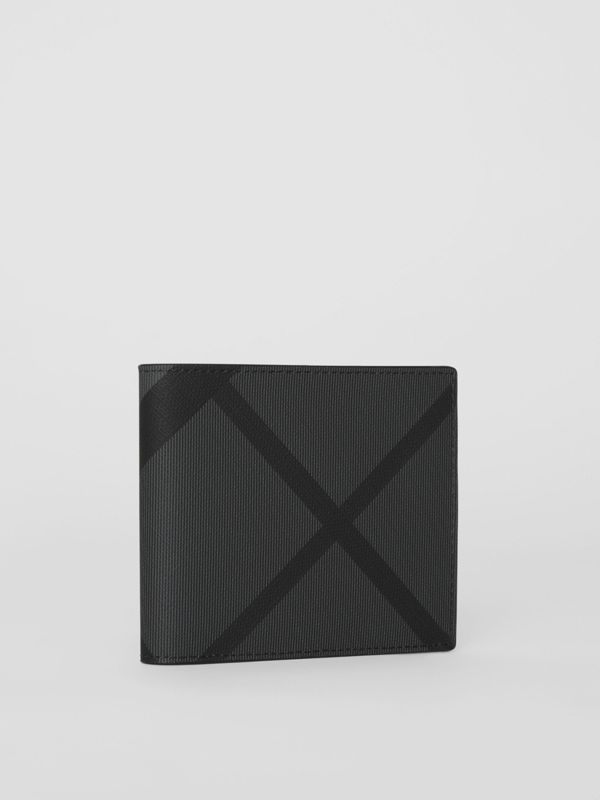 London Check and Leather International Bifold Wallet in Charcoal/black - Men | Burberry United Kingdom - cell image 3