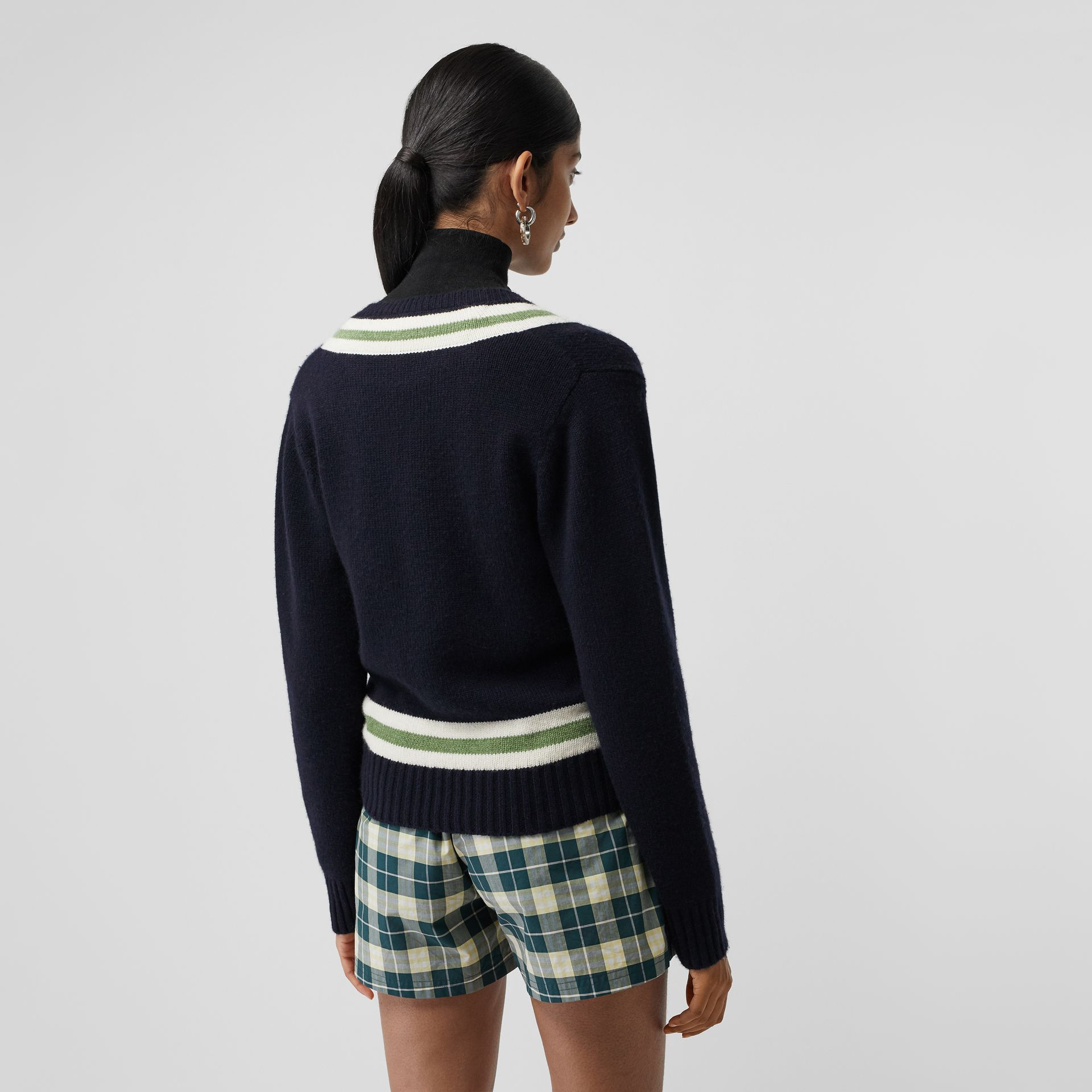 Embroidered Crest Wool Cashmere Sweater in Navy - Women | Burberry Canada - gallery image 2