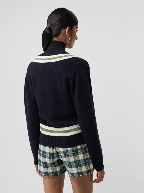 Embroidered Crest Wool Cashmere Sweater in Navy - Women | Burberry Canada - cell image 2