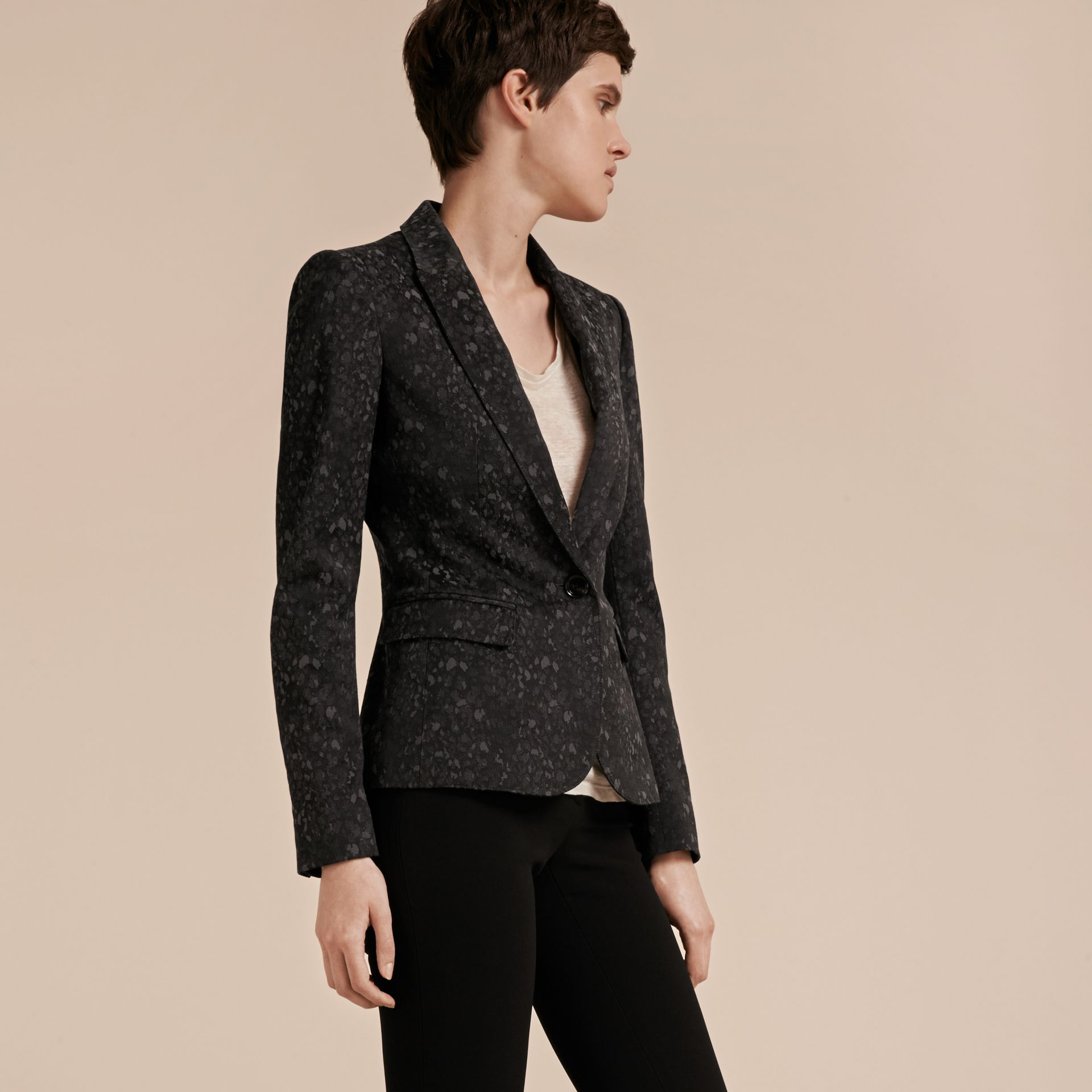 Dark grey Cotton Blend Jacquard Jacket - gallery image 7