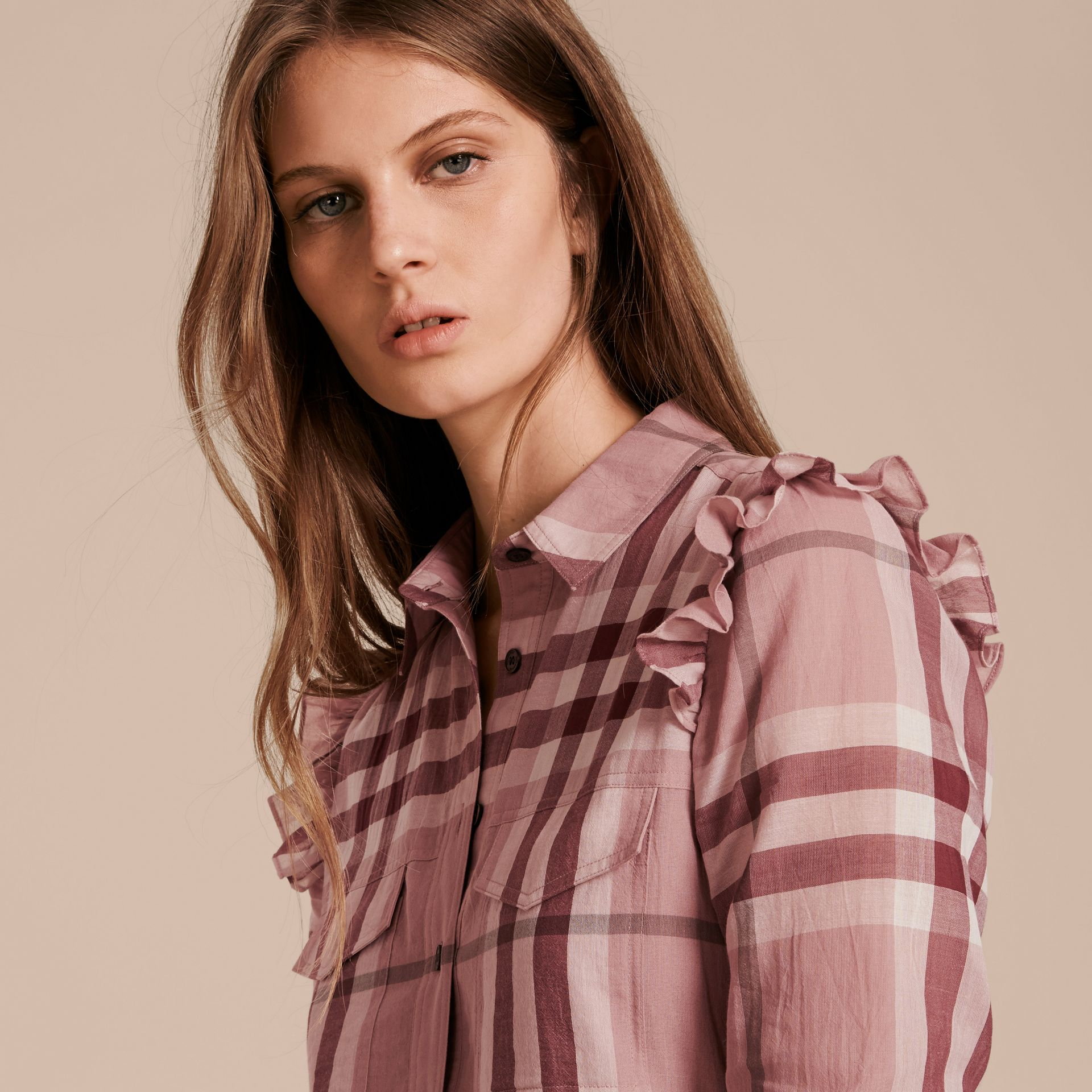 Ruffle Detail Cotton Check Shirt Dress in Antique Pink - gallery image 5
