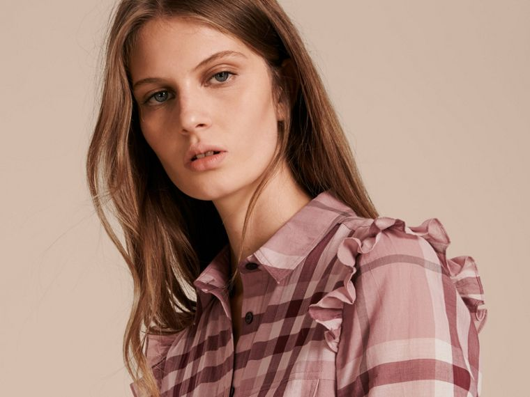 Ruffle Detail Cotton Check Shirt Dress in Antique Pink - cell image 4