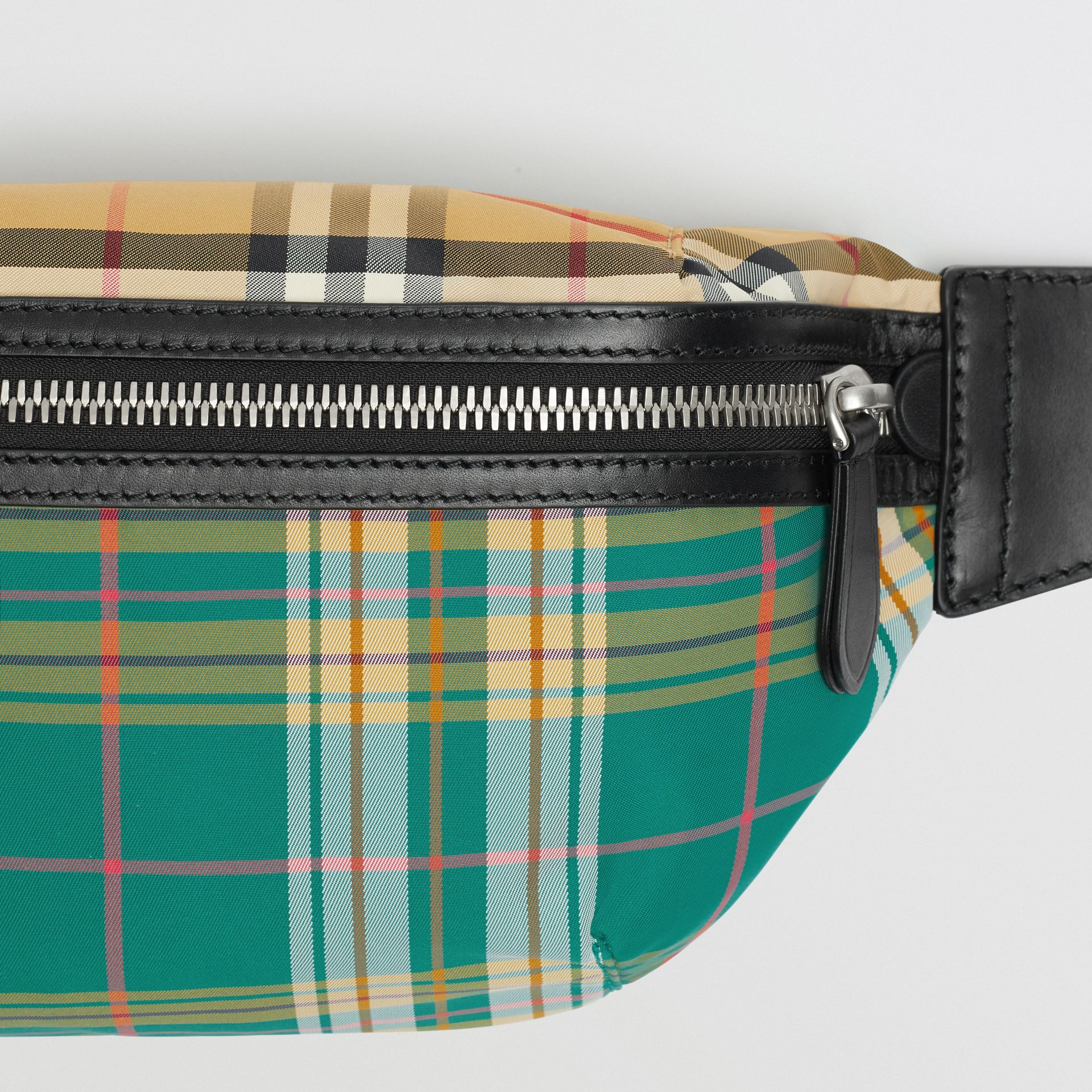 Medium Vintage Check and Tartan Bum Bag in Pine Green | Burberry Australia - gallery image 1
