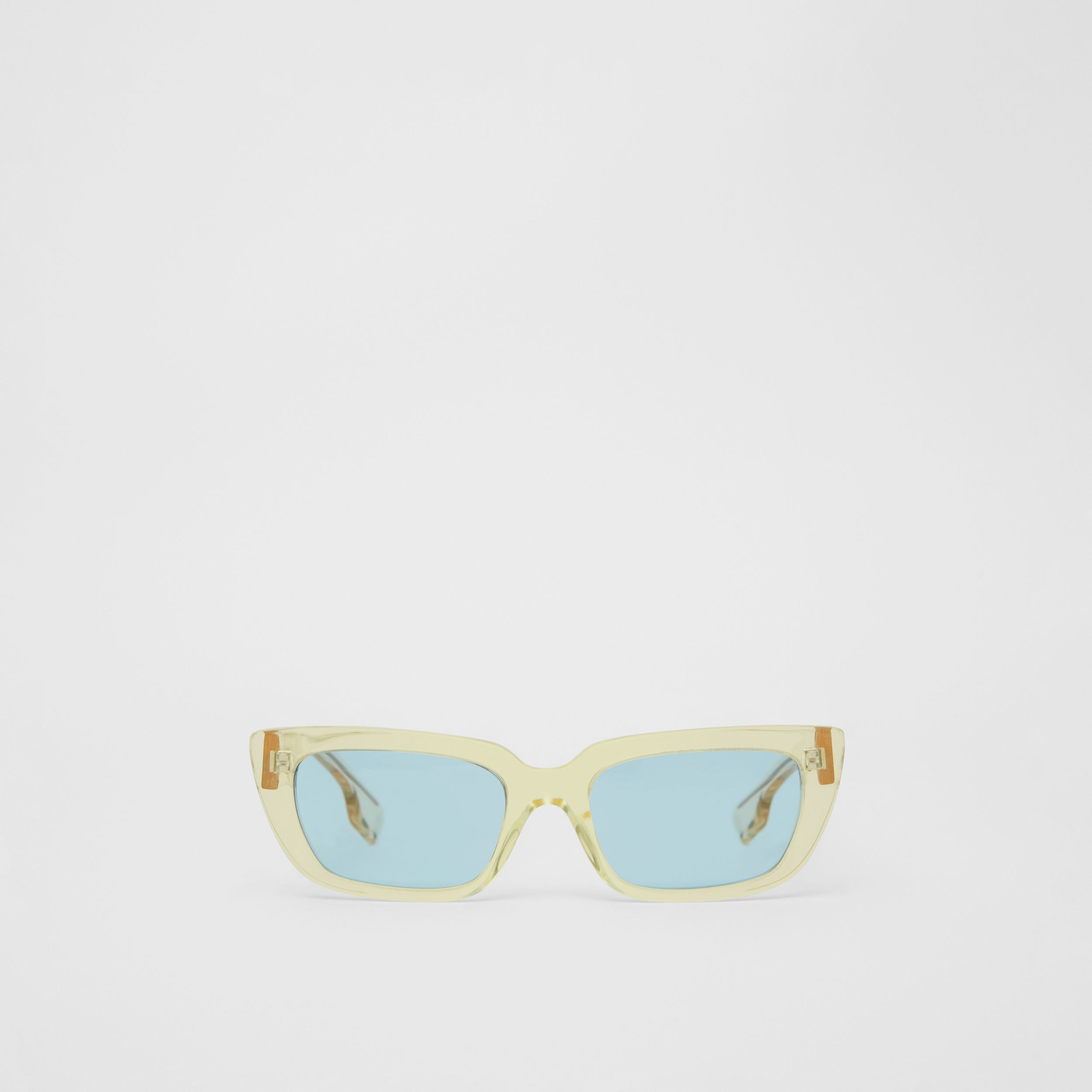 Bio-acetate Rectangular Frame Sunglasses in Pale Yellow - Women | Burberry - 1