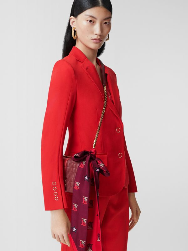 Monogram Motif Silk Scarf in Bright Red | Burberry - cell image 2