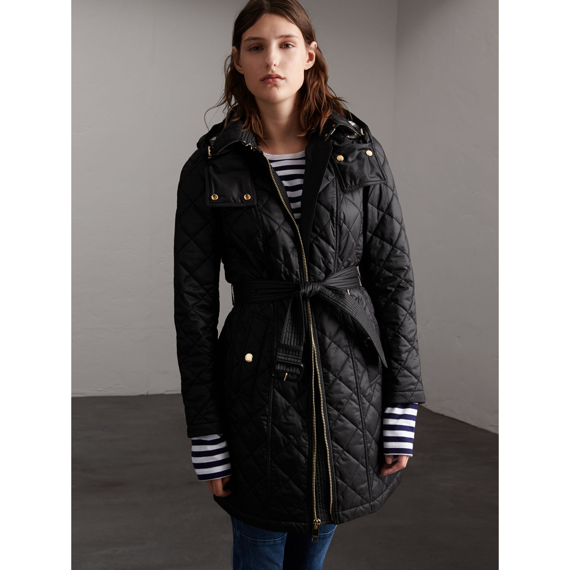 Detachable Hood Quilted Showerproof Parka in Black - Women | Burberry - gallery image 7