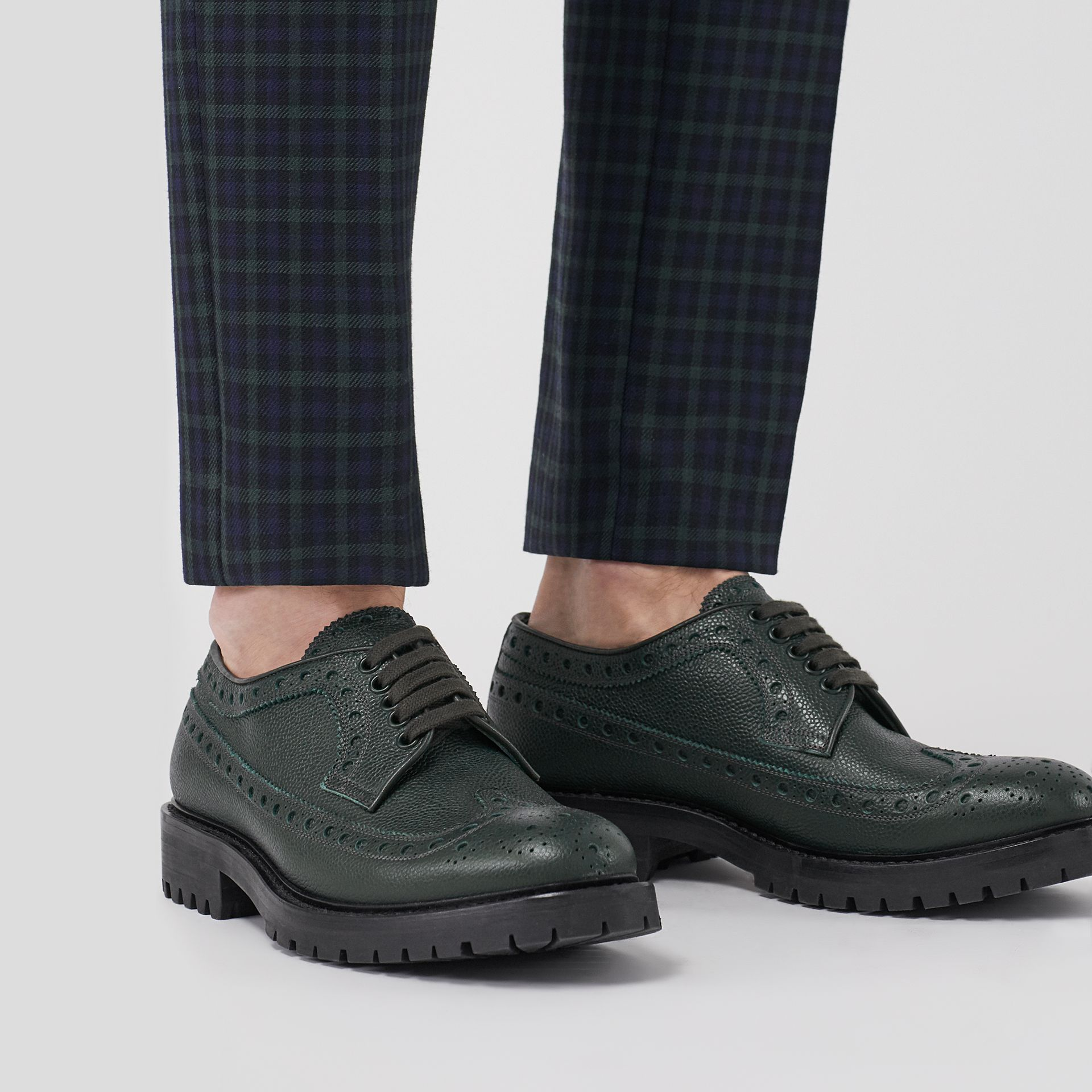 Brogue Detail Grainy Leather Derby Shoes in Deep Viridian Green - Men | Burberry Singapore - gallery image 2