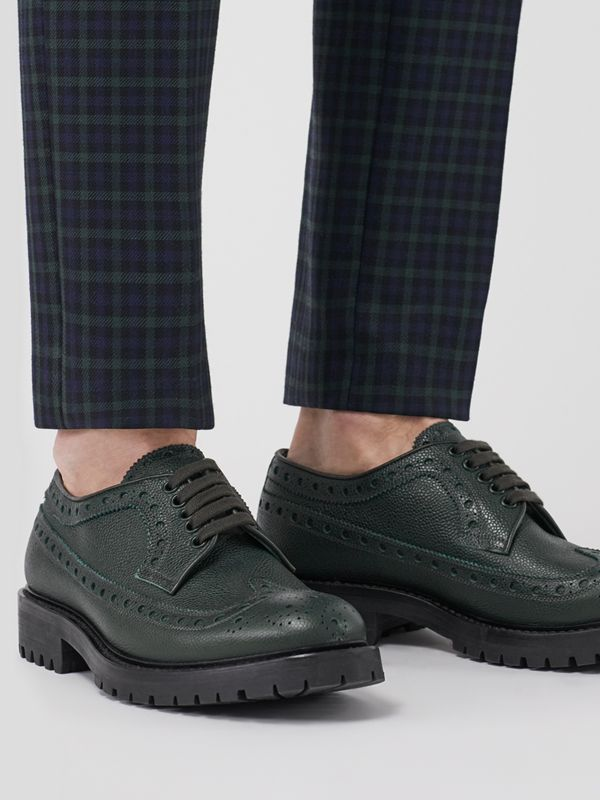 Brogue Detail Grainy Leather Derby Shoes in Deep Viridian Green - Men | Burberry - cell image 2