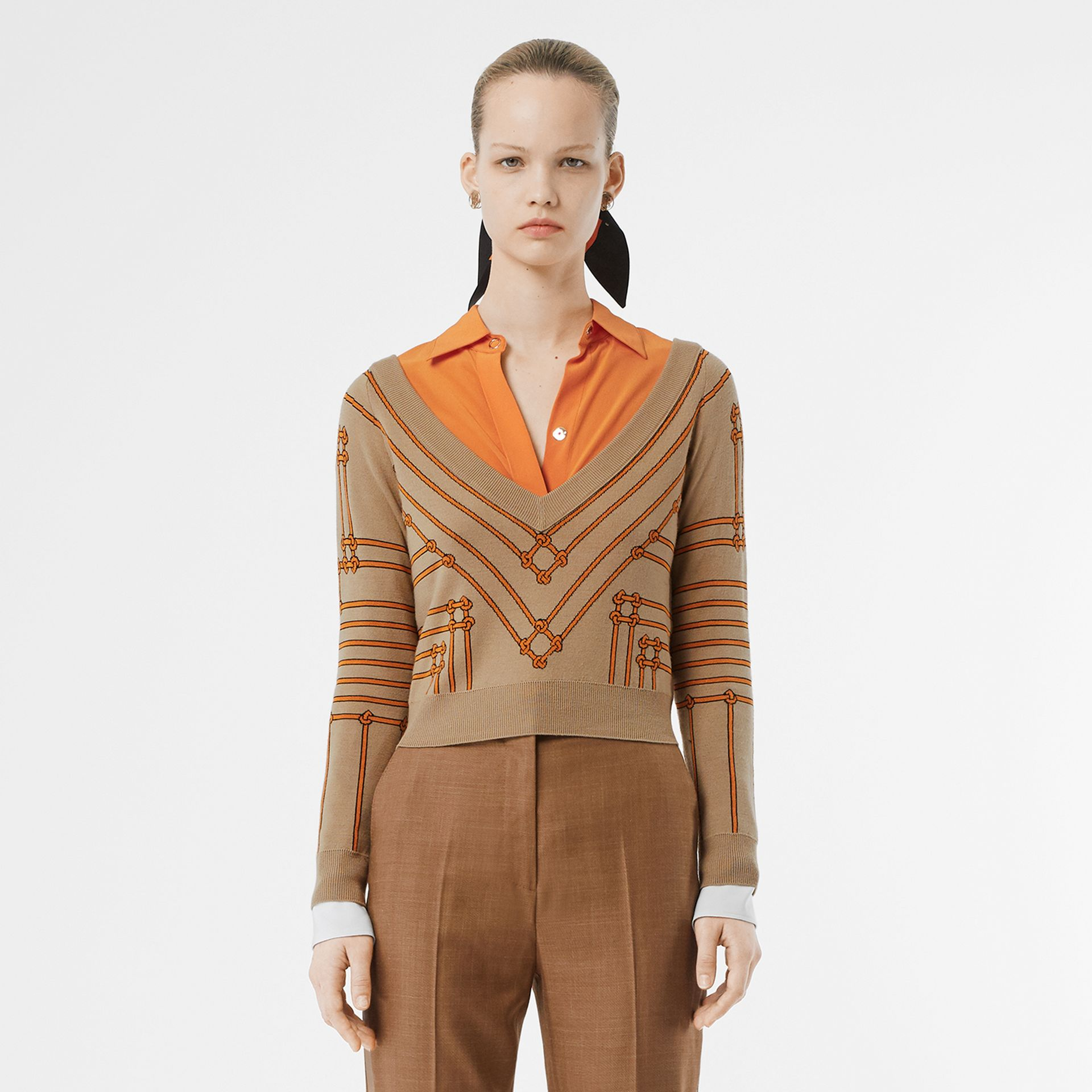 Rope Silk Wool Jacquard V-neck Sweater in Honey - Women | Burberry - gallery image 5