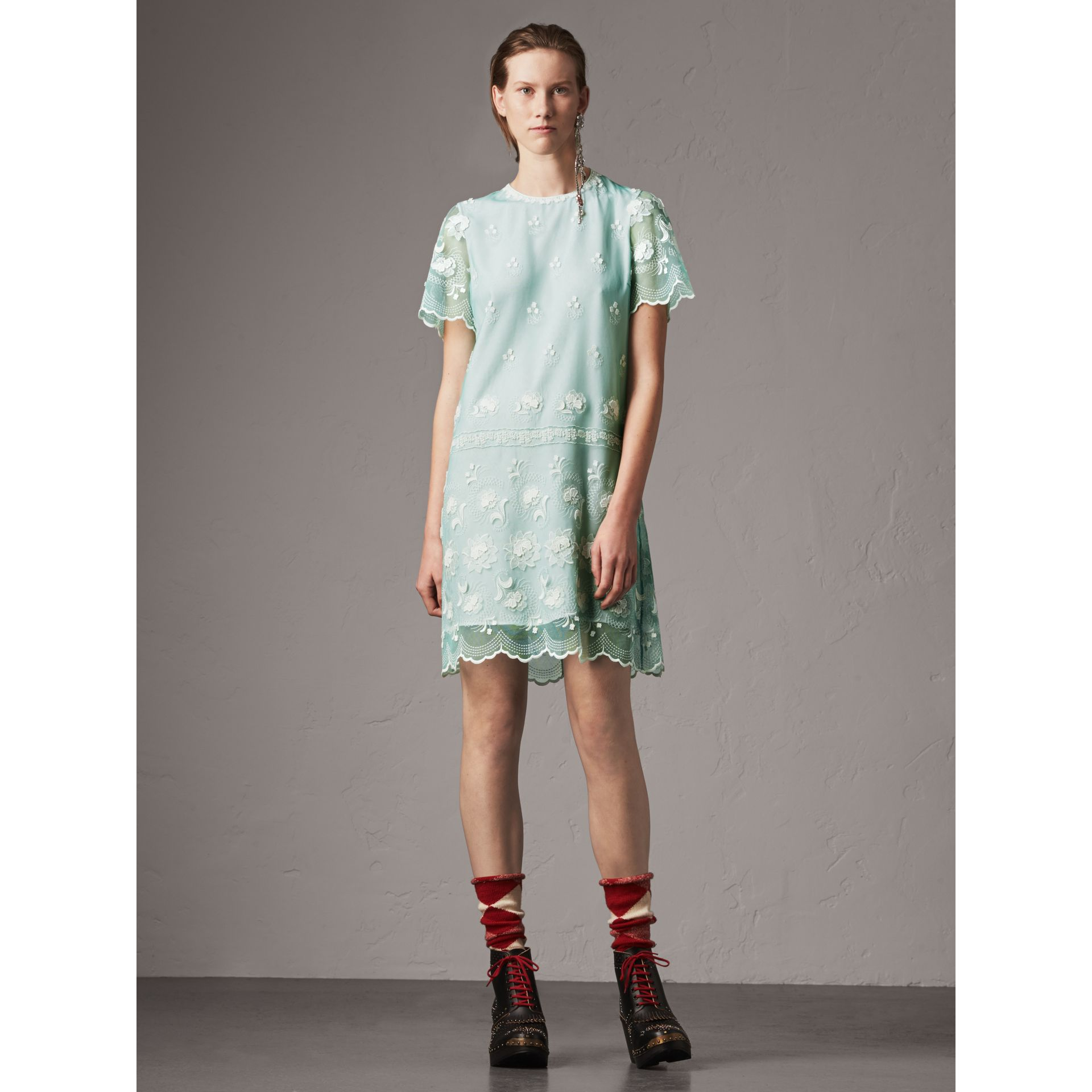 Short-sleeve Embroidered Tulle T-shirt Dress in Green - Women | Burberry United Kingdom - gallery image 0