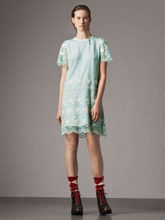 Short-sleeve Embroidered Tulle T-shirt Dress in Green