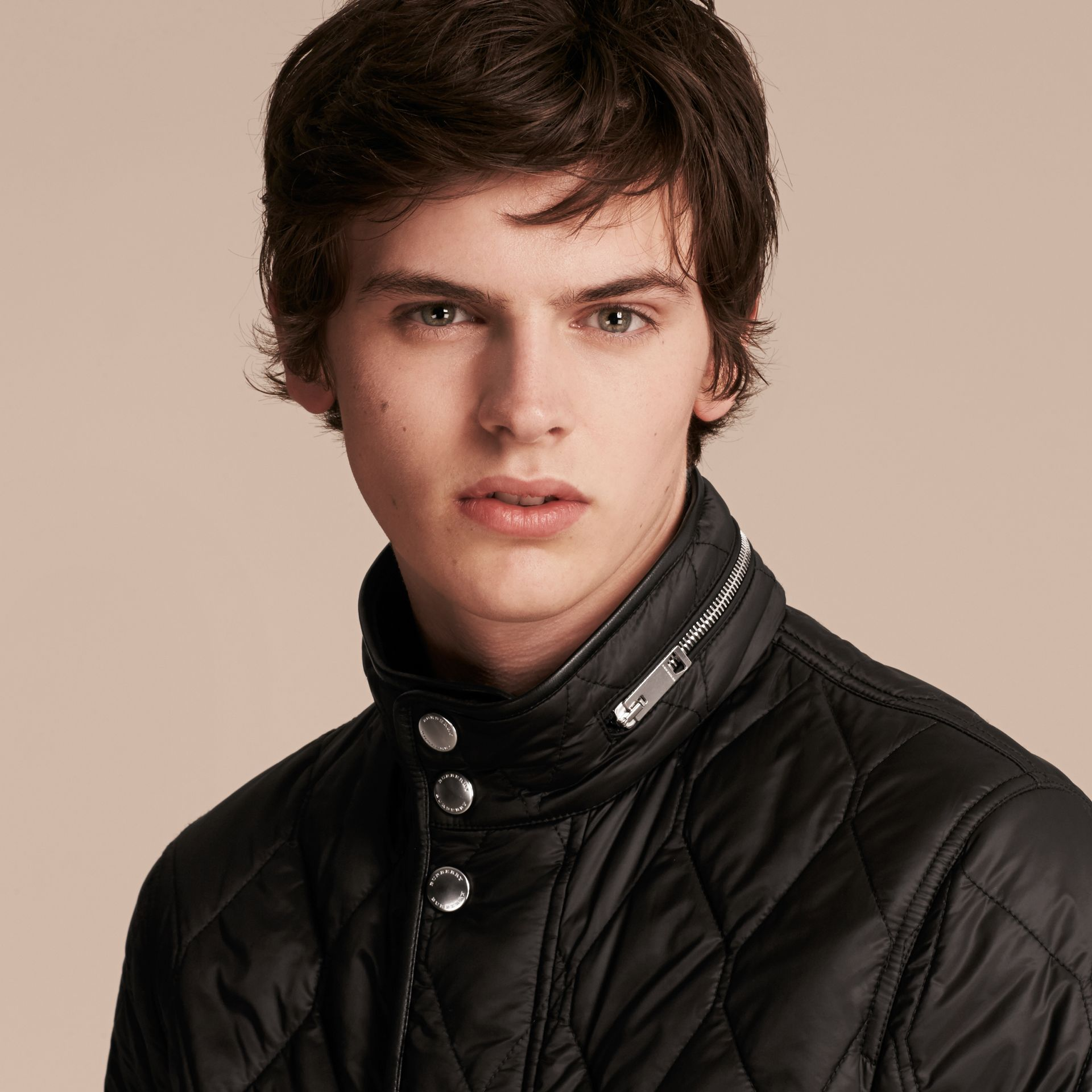Black Stand-collar Military-quilted Jacket with Packaway Hood - gallery image 5