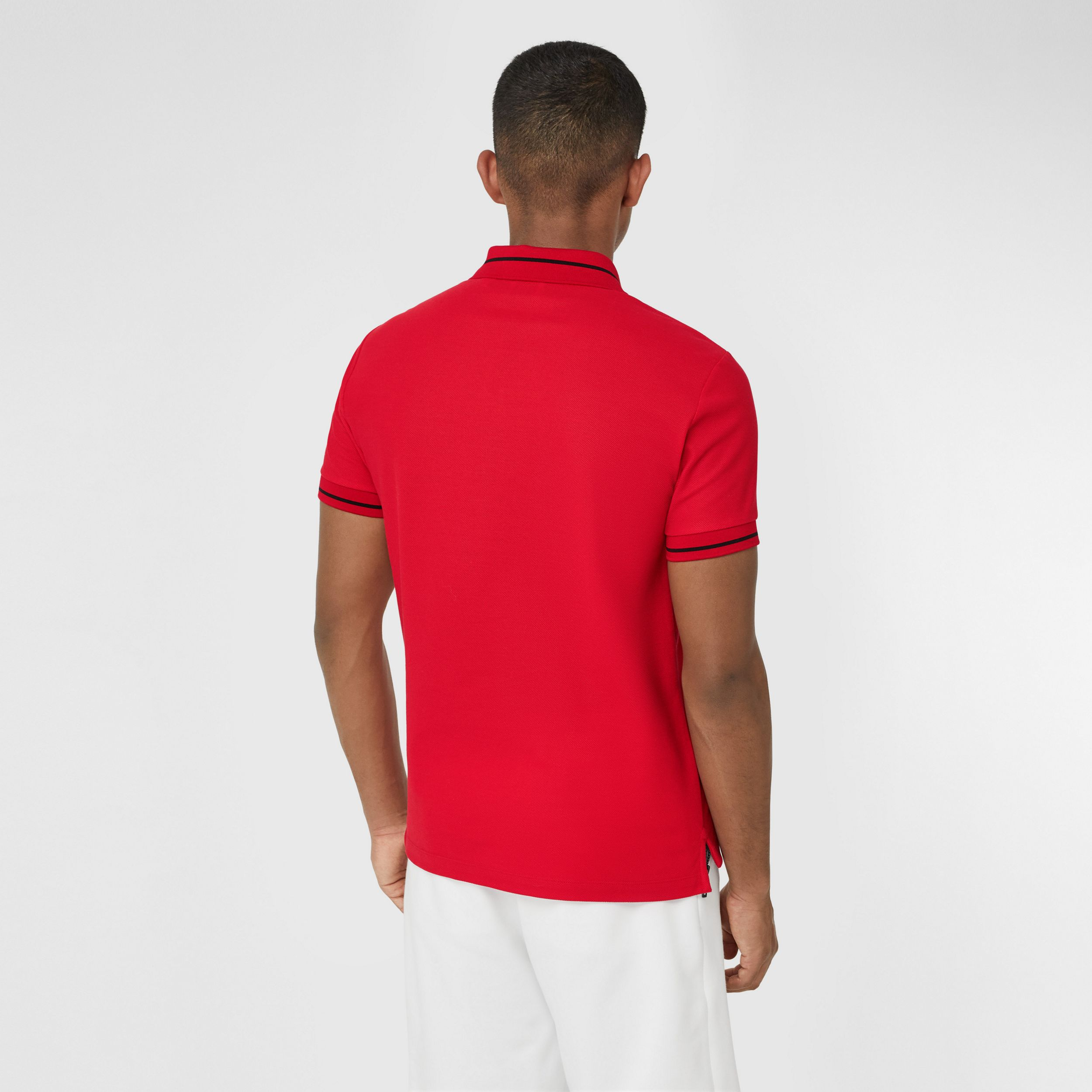 Logo Appliqué Cotton Piqué Polo Shirt in Bright Red - Men | Burberry - 3