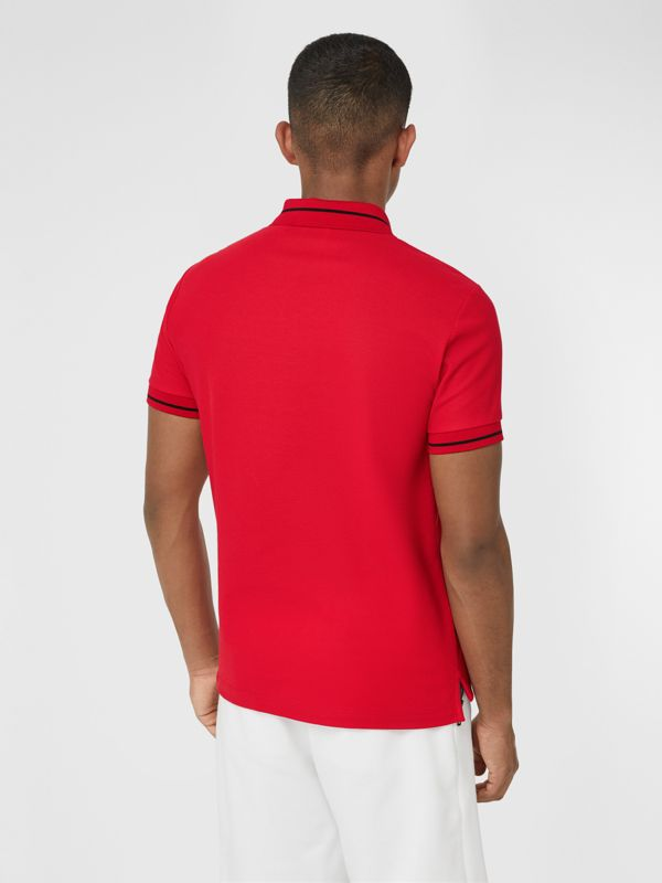 Logo Appliqué Cotton Piqué Polo Shirt in Bright Red - Men | Burberry - cell image 2