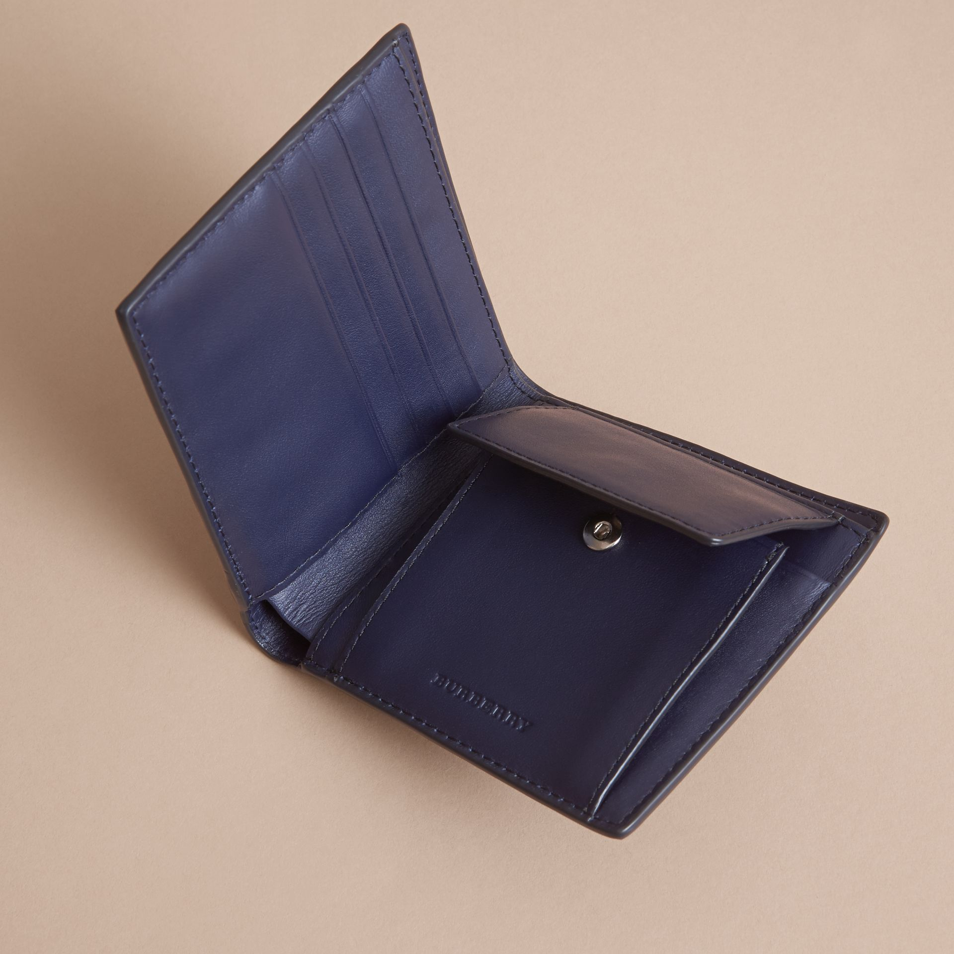 London Check Bifold Wallet with Coin Compartment in Bright Lapis - Men | Burberry - gallery image 5