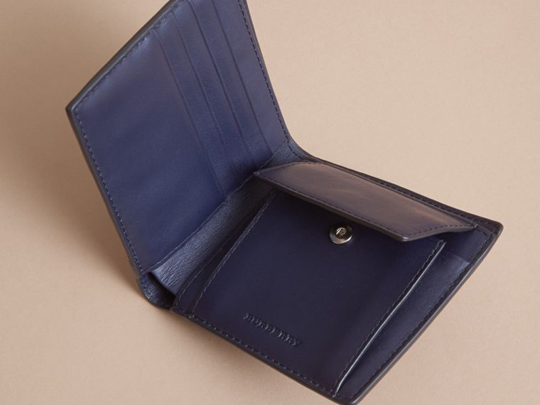 London Check Bifold Wallet with Coin Compartment in Bright Lapis - Men | Burberry - cell image 4