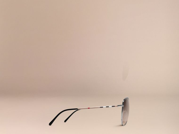 Nickel Check Arm Aviator Sunglasses Nickel - cell image 4