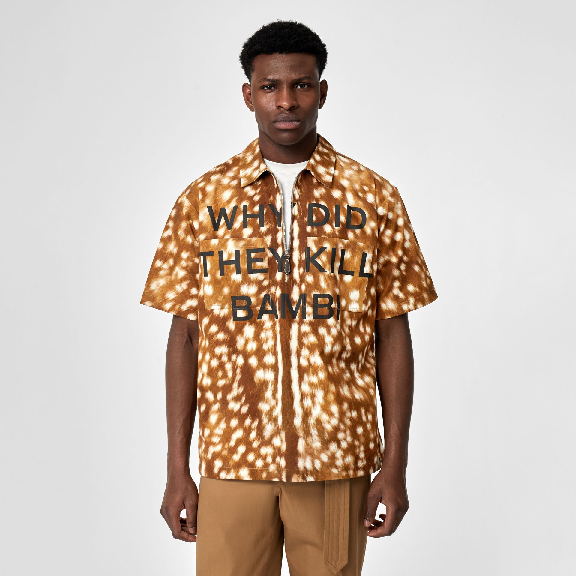 Short-sleeve Slogan Deer Print Cotton Shirt in Honey | Burberry - gallery image 0