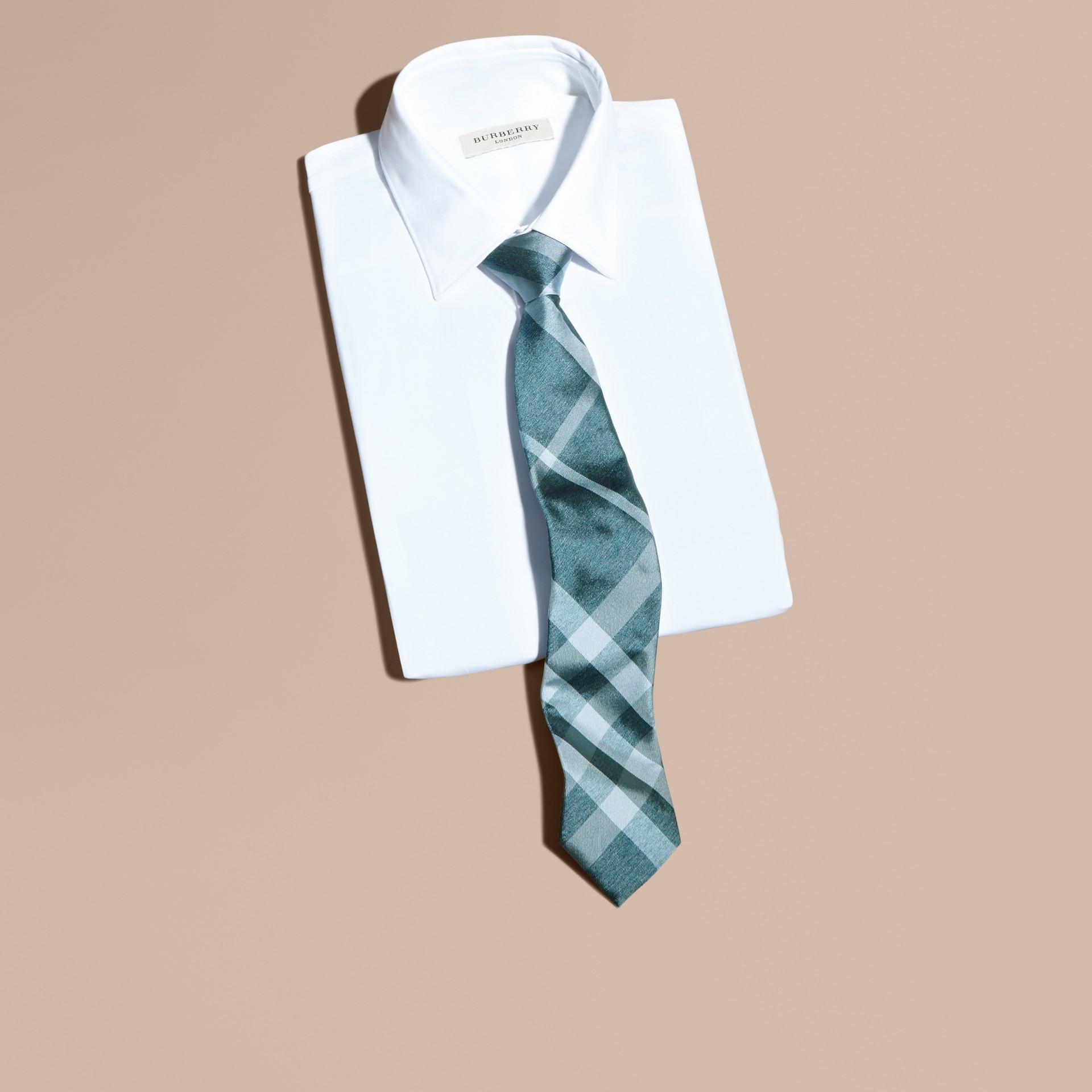Aqua green Modern Cut Check Jacquard Silk Tie Aqua Green - gallery image 3