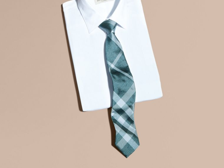 Aqua green Modern Cut Check Jacquard Silk Tie Aqua Green - cell image 2
