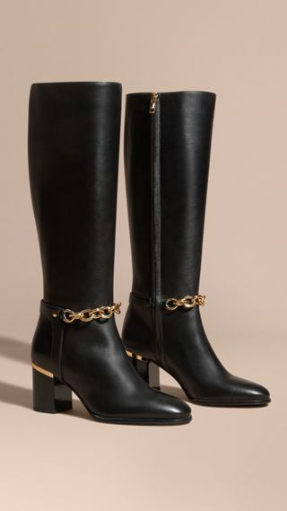 Chain Detail Leather Boots