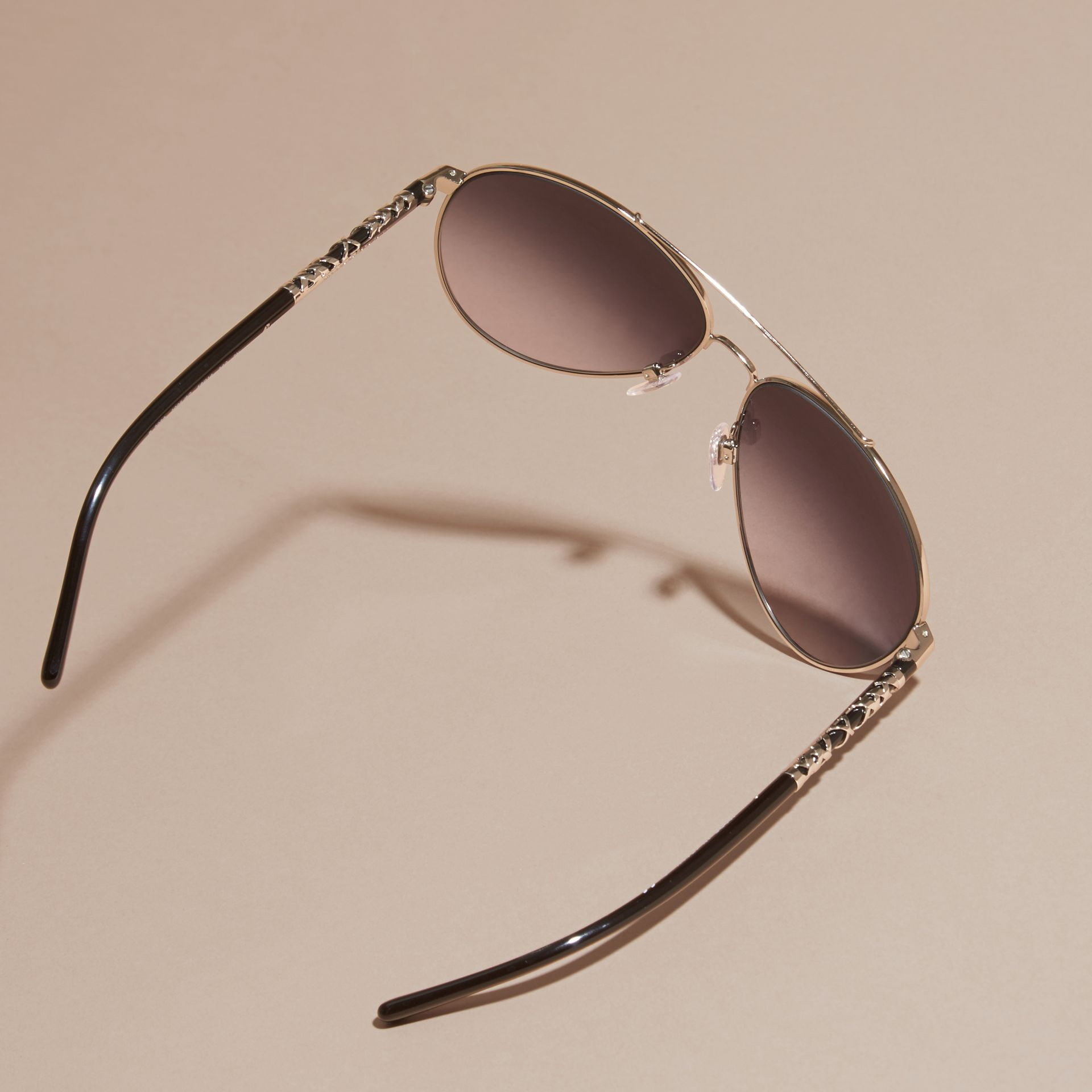 Check Detail Pilot Sunglasses in Grey Lilac - Women | Burberry - gallery image 4