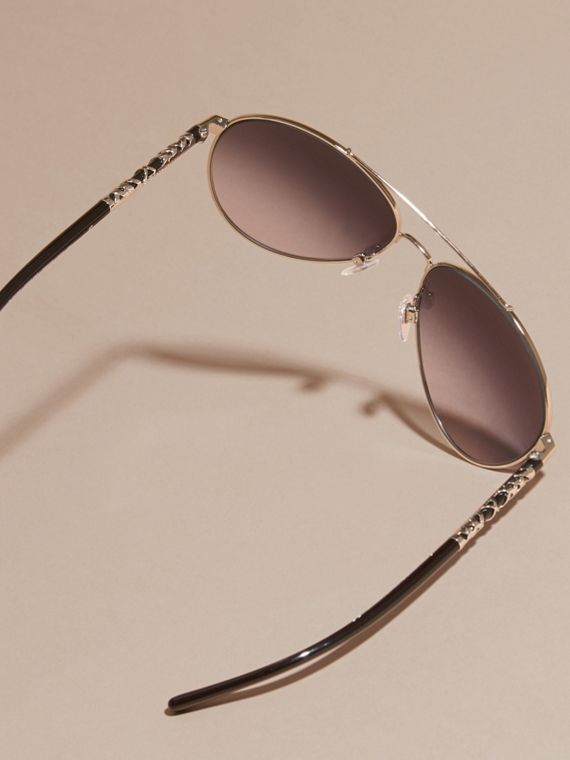 Check Detail Pilot Sunglasses in Grey Lilac - Women | Burberry Canada - cell image 3