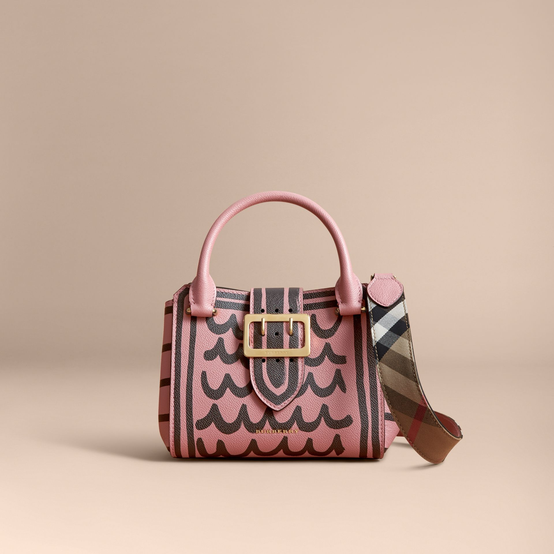 The Small Buckle Tote in Trompe L'oeil Print Leather - Women | Burberry - gallery image 8