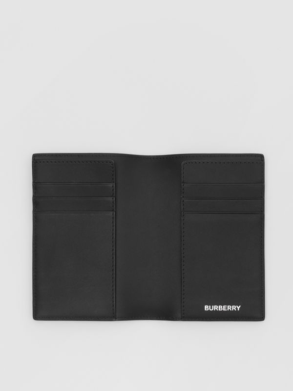 London Check and Leather Passport Holder in Dark Charcoal - Men | Burberry - cell image 2