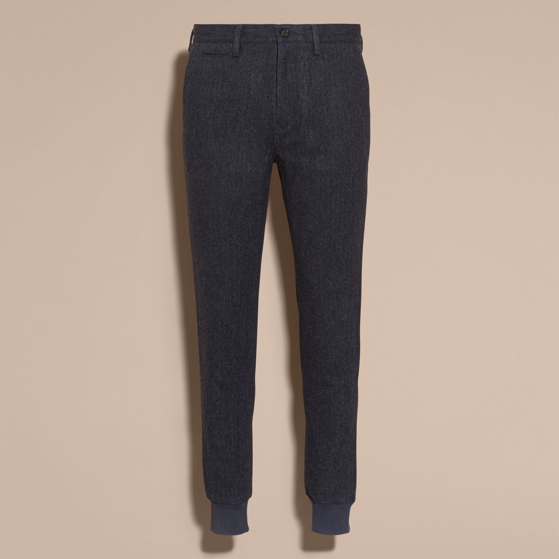 Navy Tailored Herringbone Wool Track Pants - gallery image 4