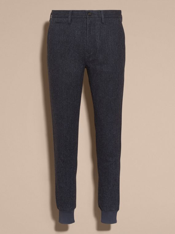 Navy Tailored Herringbone Wool Track Pants - cell image 3