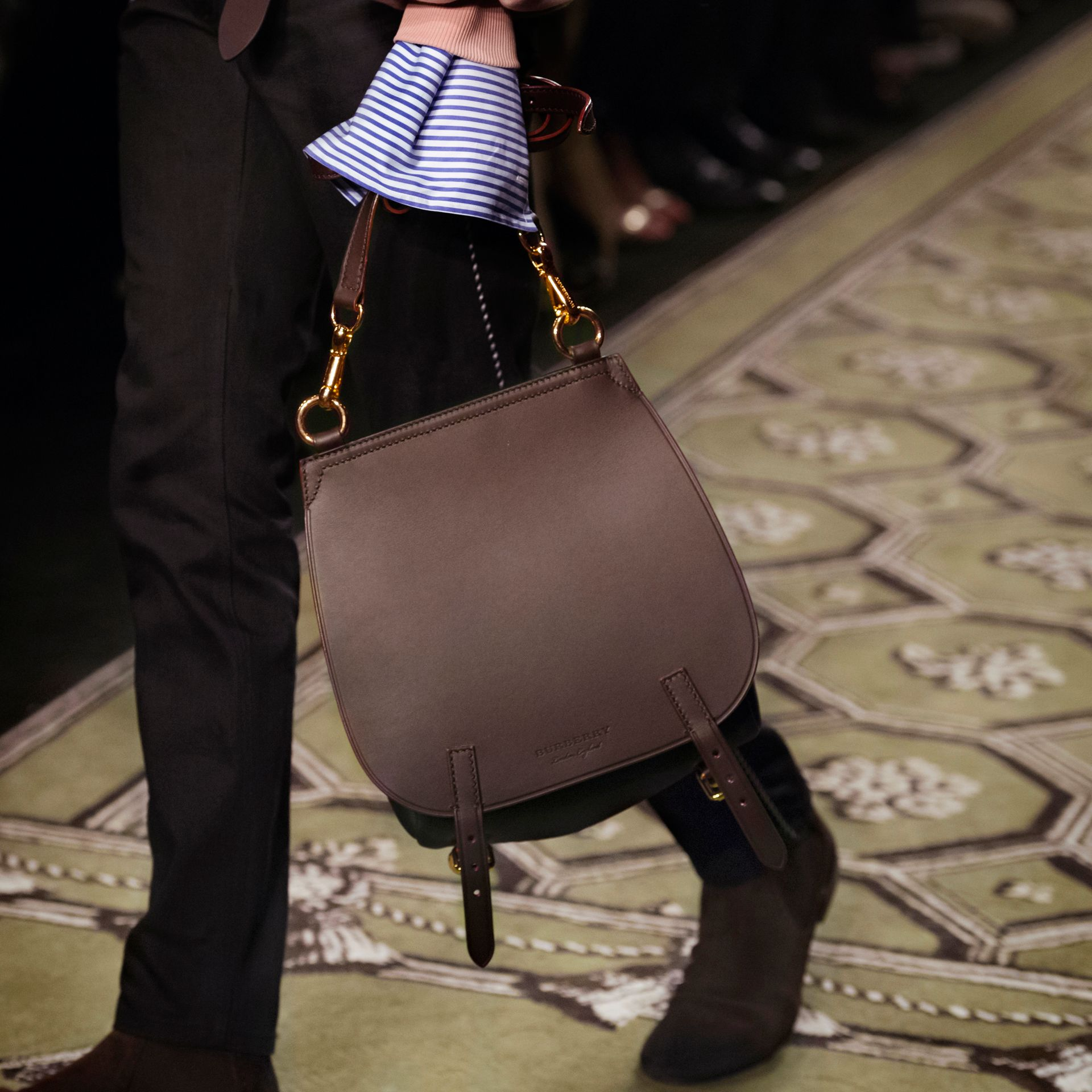 Wine The Small Bridle Bag in Leather - gallery image 9
